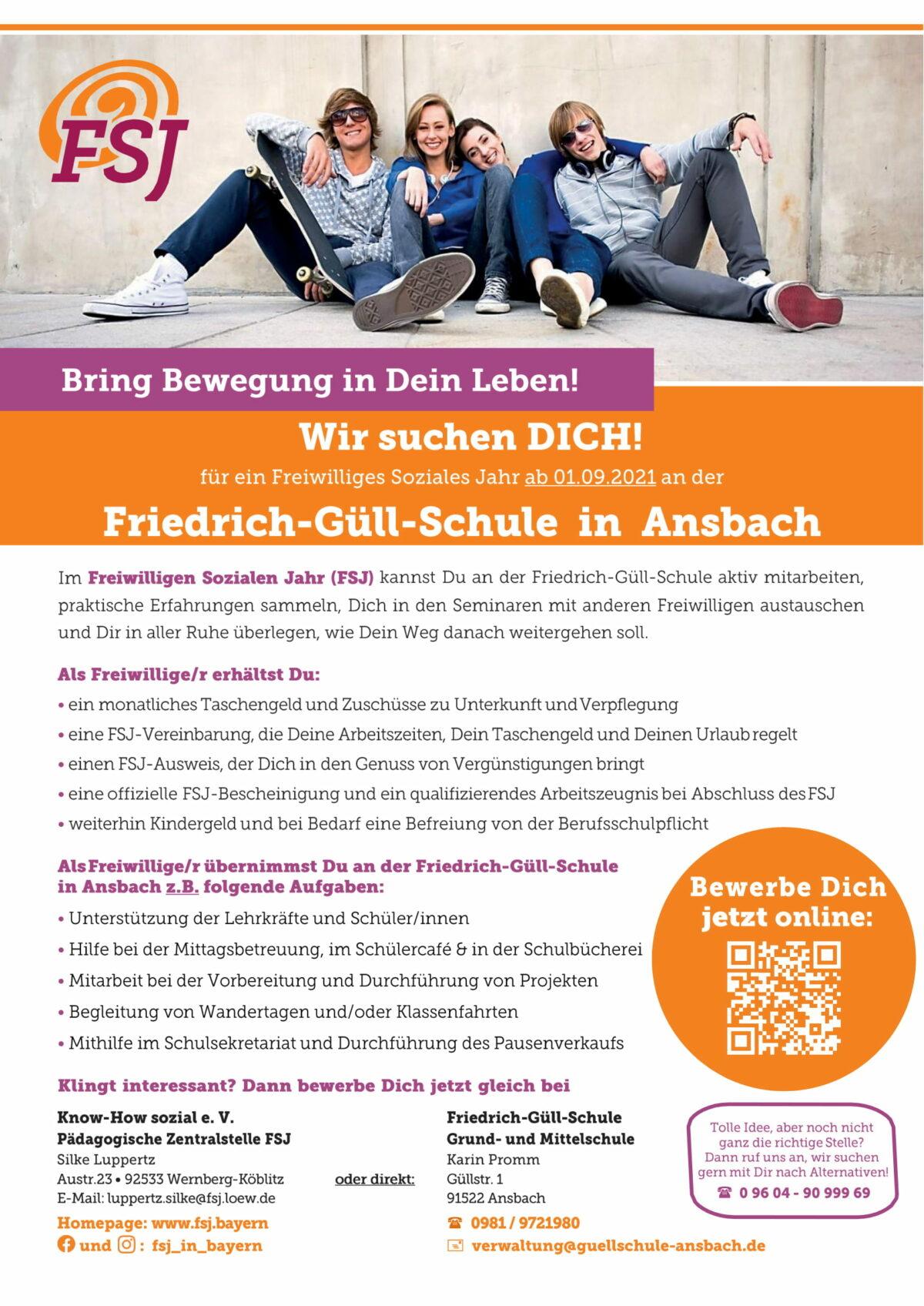 Freiwilliges Soziales Jahr (FSJ) an der Friedrich-Güll-Schule